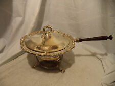 Large Chafing Dish Warming Pan Buffet Warmer Food Fondue Vtg Wood Handle