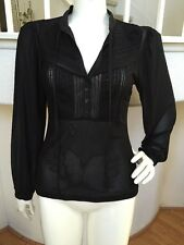 "Bebe Black Bell Sleeve Lace Trimmed Button Front Mesh Blouse ""Jade"" NWT!! Sz S"