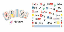 Heart Love Kiss Me Hug Sweet Letter Water Transfers Nail Art Stickers Decals