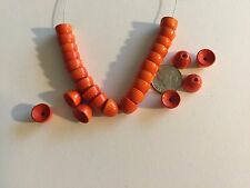 50 pcs Vintage West German Natural Wood Dyed Orange Round Dome Beads, Caps, Ends