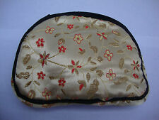 Gold Womens Wallet Change Purse Chinese Satin Floral Black Trim Brocade Coin Bag