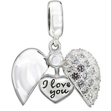 New Authentic Chamilia Secret Message Heart Charm Bead 2025-1052 Gift Boxed
