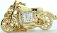 NEW GENEVA 3D MATTED BRUSHED GOLD TONE MOTORCYCLE KEY CHAIN RING, FOB WATCH