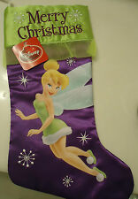"Merry Christmas Stocking Disney Tinkerbell Silky Feel Brand New 20"" w tags"