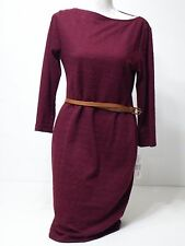 Womens Sharagano Oxblood Sweater Dress With Belt Sz 10