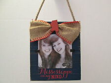 """""""Mississippi on my Mind"""" Picture Frame, Distressed Wood and Burlap, NWT"""