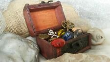 Small Wooden Pirate Treasure Chest Filled with Secret Treasure.