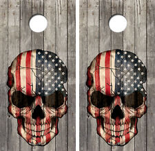 Skull Flag Cornhole Board Game Decal Wraps w/FREE APPLICATION SQUEEGEE