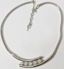 collier bijou vintage 70 couleur argent chaine serpent solitaire cristal * 5318
