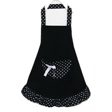 Lovely Cotton Polka Dot Pattern Working Chefs Apron with For Ladies (Black) ED