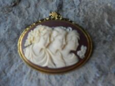 GENERATIONS - SISTERS - CAMEO ANTIQUE GOLD TONE BROOCH / PIN - CREAM - BROWN