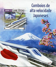 Guinea-Bissau 2015 MNH High Speed Trains Japan 1v S/S Railways Mount Fuji Stamps
