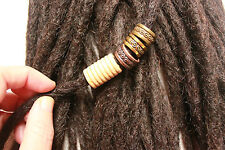 3 shades of bronze dread rings with wood stopper bead. dreadlock accessory