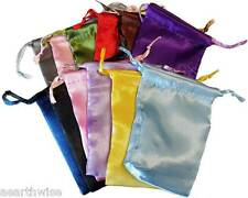 12 x SATIN POUCHES ASSORTED COLOURS 101 x 76 mm Wicca Witch Pagan Goth 12xBAGS