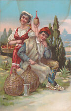 ITALY POSTCARD ITALIAN COSTUMES BOY AND GIRL WINE AND FRUIT 1900-1920