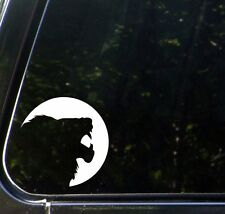 "CAR - Lion Silhouette - Vinyl Car Decal Sticker - ©YYDC (5""dia.) (WHITE)"