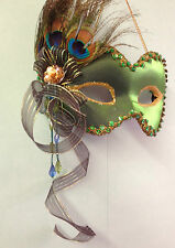 Emerald Green Peacock Feather  Hanging Masquerade Wall Mask Costume Ball LP14084
