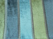 Harlequin Curtain Fabric PLUSH 0.37m Moss/Pewter/Duck Egg Stripe VELVET 37cm