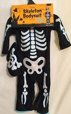 SKELETON PAJAMAS BODYSUIT w/ Hat GLOW IN THE DARK size 6-12 months