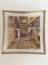 Vintage Georges Briard Retro Mid Century Modern Gold Square Glass Dish Buildings