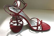 Shoes Guess by Marciano RED Leather Strappy Heels Size 9 1/2 VGUC