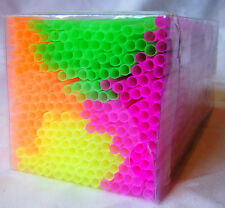 NEW 250 NEON FLEXI DRINKING STRAWS BRIGHT PINK YELLOW ORANGE AND GREEN 2036