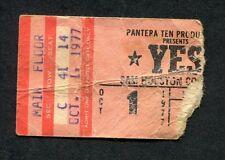 1977 Yes concert ticket stub Sam Houston Coliseum Going For The One