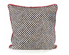 Mackenzie Childs LARGE 22 INCH SQUARE COURTLY CHECK -POPPY PILLOW Ribbon Trim