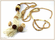 VERY LONG BROWN WOODEN & CERAMIC BEAD TASSEL NECKLACE. FESTIVAL HIPPY BOHO etc.