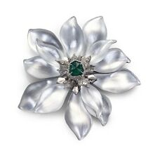ALEXIS BITTAR SILVER LUCITE EMERALD ENCRUSTED ARTICULATED FLOWER BROOCH PIN 4.75