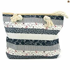 Beach Bag Navy Anchors Zip Fastener Rope Handles Holiday Travel Seaside 104-674