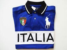 New Ralph Lauren Polo Custom Fit Big Pony Blue 100% Cotton Italy Shirt sz XL