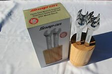 Snap On Open End Wrench Stainless Steel Knife Set 6pc with Wood Block New