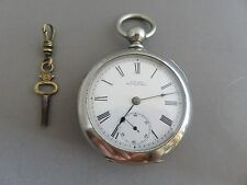 1890 SILVERINE Waltham Wm. Ellery KEY WIND/KEY SET 18 SIZE POCKET WATCH