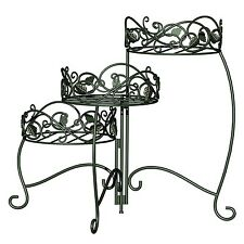 Panacea Products 3-Tiered Folding Scroll  and  Ivy Plant Stand Black with Bru...