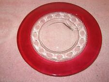 """Vtg Tiffin Kings Crown Thumbprint Cranberry Ruby Red Flash 10.25"""" Snack Plate"""