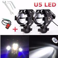 2x Black U5 Motorcycle LED Headlight Driving Fog Spot Light Lamp & Switch 125W
