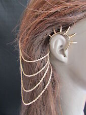 N WOMEN GOLD CHAINS SPIKES FASHION CUFF EARRING HAIR PIN CONNECTED HEADBAND CLAW