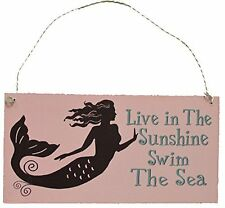 "Mermaid Thoughts Wooden Sign - Live in The Sunshine Swim in the Sea 7""L Wall Art"