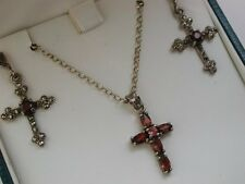 Wonderful set of Solid Silver, Marcasite and Garnet Cross Earrings + Necklace