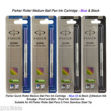 4 x Parker Quink Roller Ball Pen Refill Medium Nib Blue & Black Ink USA Seller