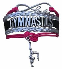 GYMNASTICS LEATHER CHARM BRACELET SILVER-SPORTS-ADJUSTABLE-PINK-BLACK-SILVER