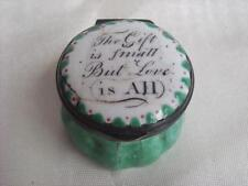 ANTIQUE BILSTON ENAMEL ON COPPER PATCH BOX WITH VERSE CIRCA 1770