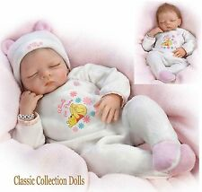 "Ashton Drake""MY LITTLE POOH BEAR"" LIFELIKE NEWBORN BABY DOLL-NEW-IN STOCK NOW !"
