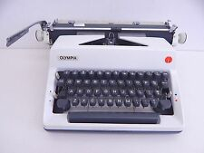 Vintage Olympia SM9 Portable Manual Typewriter White & Grey with Case