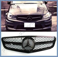 For 08-2014 M-BENZ W204 C250 C300 C350 Shiny Black Front Grille Hood C63 A Look