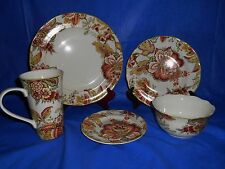 20 pc 222 FIFTH Ellana Red Dinnerware Plates Bowls & Mugs Cups Spring Flowers