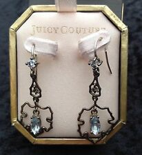 Juicy Couture Nuovo Inscatolato delicato Argento Pendente Orecchini con Diamante (bucato)