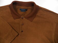 ERMENEGILDO ZEGNA MENS LARGE POLO SWEATER BROWN SUEDED COTTON WOOL MADE IN ITALY