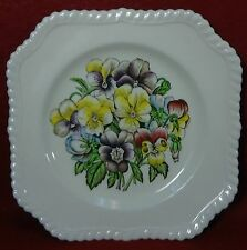 JOHNSON BROTHERS china OLD FLOWER PRINTS - 4 Square Salad Plates - Chips 7-5/8""